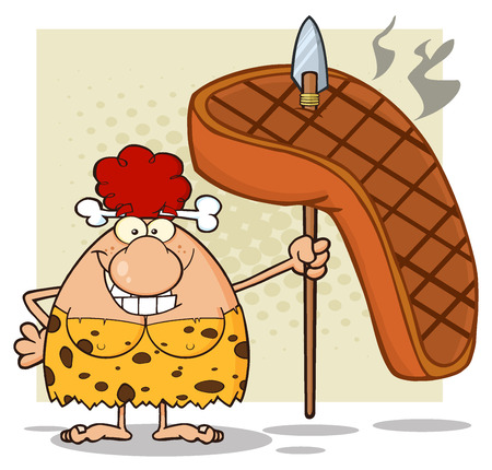 breast comic: Happy Red Hair Cave Woman Cartoon Mascot Character Holding A Spear With Big Grilled Steak