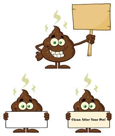 dung: Poop Cartoon Mascot Character. Illustration Isolated On White Background Collection Set 3