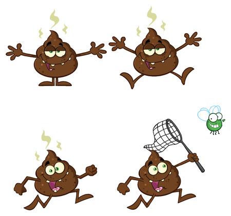 bullshit: Poop Cartoon Mascot Character. Illustration Isolated On White Background Stock Photo
