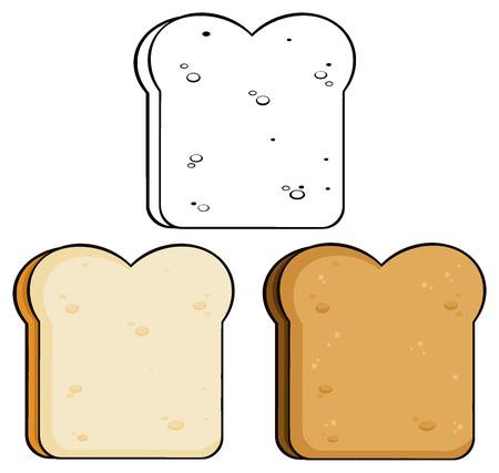 wholemeal: Cartoon Toast Bread Slice. Illustration Isolated On White Background