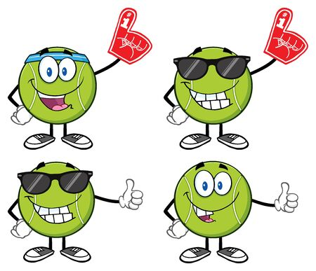 sunglasses cartoon: Tennis Ball Cartoon Mascot Character. Illustration Isolated On White Background