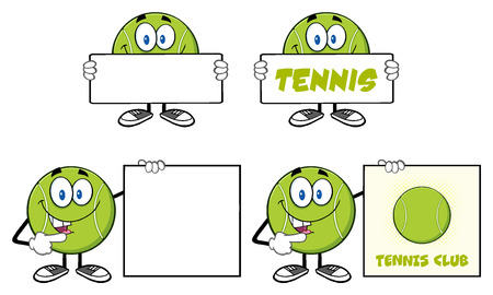 cartoon banner: Tennis Ball Cartoon Mascot Character. Illustration Isolated On White Background