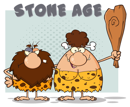breast comic: Caveman Couple Cartoon Mascot Characters With Brunette Woman Holding A Club And Text Stone Age. Illustration Isolated On White Background Stock Photo