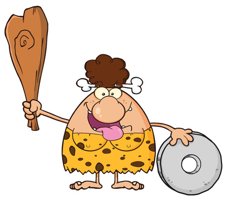 breast comic: Happy Brunette Cave Woman Cartoon Mascot Character Holding A Club And Showing Wheel