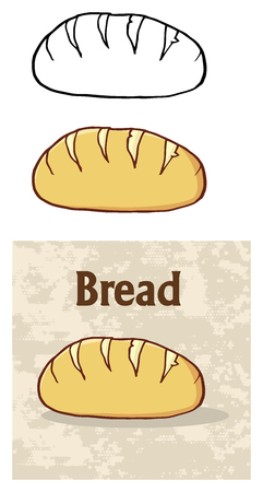 white bread: Cartoon Loaf Bread Poster Design. Illustration Isolated On White Background Stock Photo