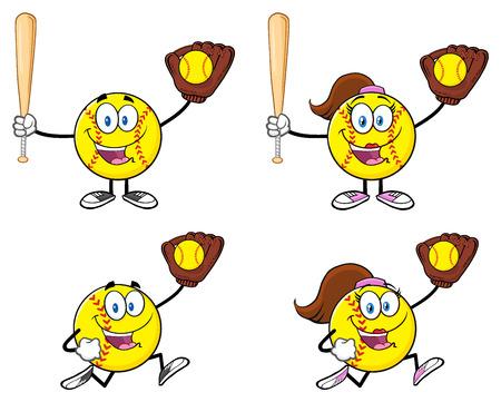 Softball Cartoon Mascot Character. Illustration Isolated On White Background Stock Photo