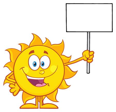 Summer Sun Cartoon Mascot Character Holding A Blank Sign