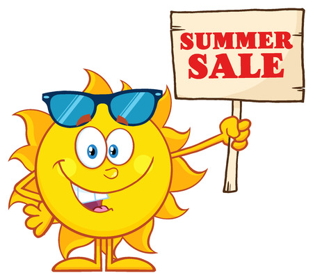 summer sign: Summer Sun Cartoon Mascot Character With Sunglasses Holding A Wooden Sign With Text Summer Sale