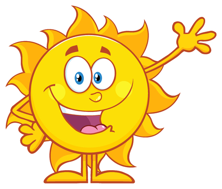 Happy Sun Cartoon Mascot Character Waving For Greeting Фото со стока
