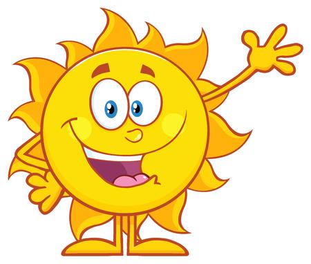 Happy Sun maskot Cartoon Character mává na pozdrav