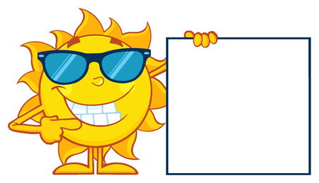sunshine: Talking Sun Cartoon Mascot Character With Sunglasses Pointing To A Blank Sign