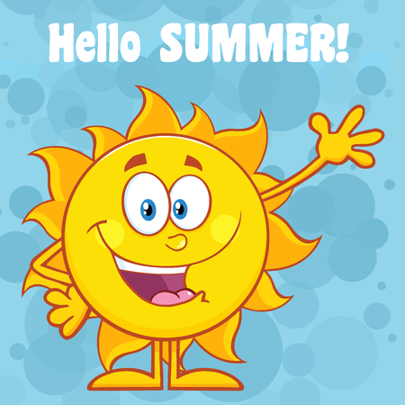 waving: Happy Sun Cartoon Mascot Character Waving For Greeting With Text Hello Summer. Illustration With Blue Background