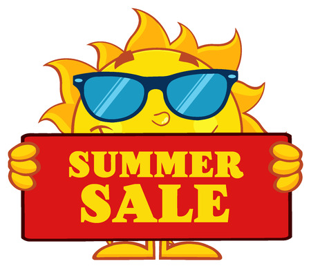 Cute Sun Cartoon Mascot Character With Sunglasses Holding A Sign With Text Summer Sale Stock Photo