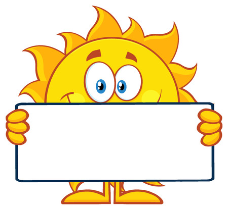 blank sign: Cute Sun Cartoon Mascot Character Holding A Blank Sign