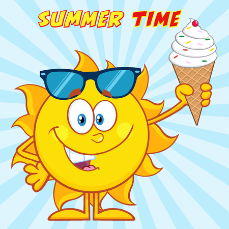 Cute Sun Cartoon Character With Sunglasses Holding A Ice Cream. Illustration With Sunburst Background And Text Summer Time