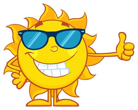 meteo: Sorridente Sun del fumetto del carattere della mascotte con occhiali da sole con un pollice alzato Archivio Fotografico