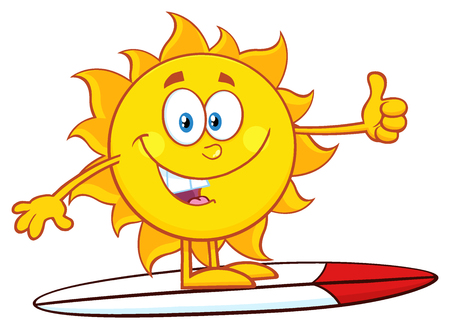 weather cartoon: Surfer Sun Cartoon Mascot Character Over Surf Showing Thumb Up