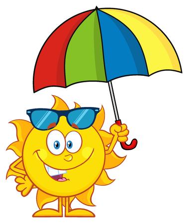 weather cartoon: Cute Sun Cartoon Mascot Character Holding A Umbrella