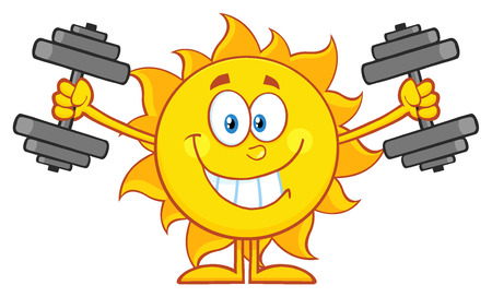 smiling sun: Smiling Sun Cartoon Mascot Character Working Out With Dumbbells