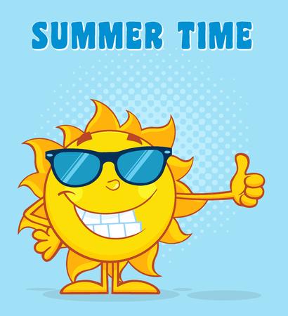 star cartoon: La sonrisa de la mascota de Sun con las gafas de personaje de dibujos animados que agita para saludar con texto del feliz verano. Ilustración con el fondo azul