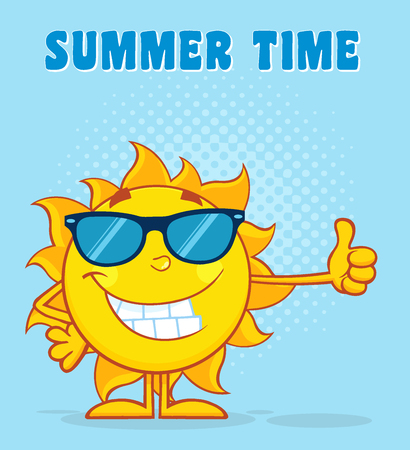 sun sign: Smiling Sun Cartoon Mascot Character With Sunglasses Waving For Greeting With Text Happy Summer. Illustration With Blue Background Stock Photo