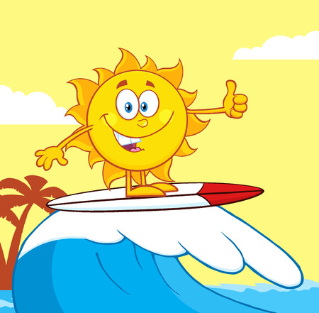 cartoon surfing: Surfer Sun Cartoon Mascot Character Riding A Wave And Showing Thumb Up Stock Photo