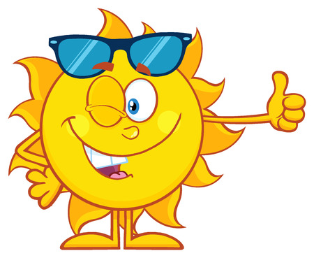 winking: Smiling Sun Cartoon Mascot Character With Sunglasses Giving The Thumbs Up