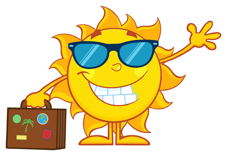 luggage travel: Smiling Summer Sun Cartoon Mascot Character With Sunglasses Carrying Luggage And Waving
