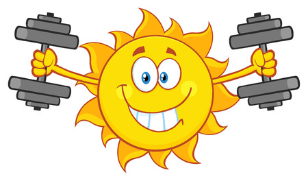 working out: Smiling Sun Cartoon Mascot Character Working Out With Dumbbells