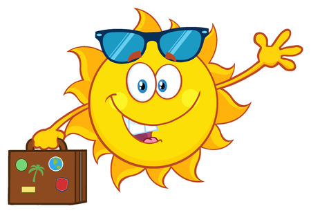 Cute Summer Sun Cartoon Mascot Character With Sunglasses Carrying Suitcase And Waving