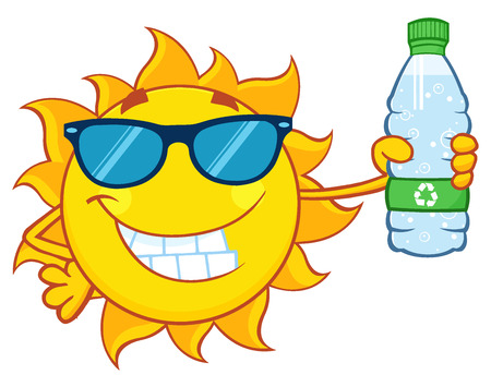 hot water bottle: Cute Sun Cartoon Mascot Character With Sunglasses Holding A Water Bottle With Recycle Sign