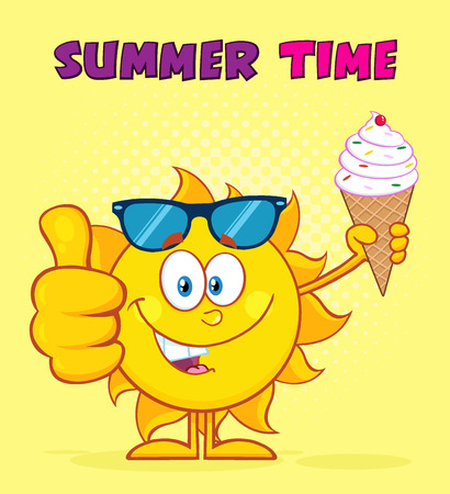 Cute Sun Cartoon Mascot Character With Sunglasses Holding A Ice Cream Showing Thumb Up. Illustration With Yellow Sunburst Background And Text Summer Time