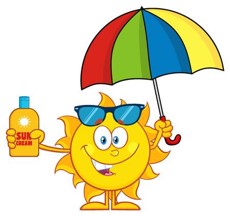 sun block: Cute Sun Cartoon Mascot Character Holding A Umbrella And Bottle Of Sun Block Cream Stock Photo
