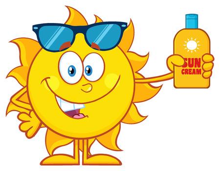 sun protection: Cute Sun Cartoon Mascot Character With Sunglasses Holding A Bottle Of Sun Block Cream