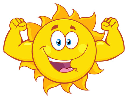 sunshine: Happy Sun Cartoon Mascot Character Showing Muscle Arms