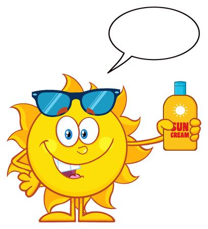 sun block: Cute Sun Cartoon Mascot Character With Sunglasses Holding A Bottle Of Sun Block Cream. Illustration Isolated On White Background With Speech Bubble Stock Photo