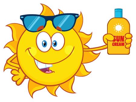 sun block: Cute Sun Cartoon Mascot Character With Sunglasses Holding A Bottle Of Sun Block Cream With Text