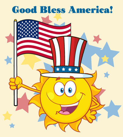bless: Cute Sun Cartoon Mascot Character With Patriotic Hat Holding An American Flag. Illustration With Background Text Good Bless America