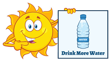 Talking Sun Cartoon Mascot Character Pointing To A Sign With Text Drink More Water