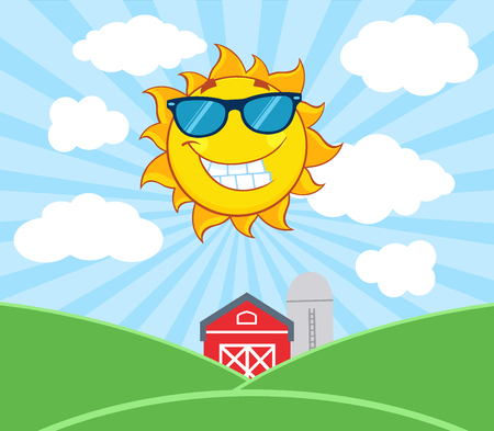 Smiling Sun Mascot Cartoon Character With Sunglasses. Illustration With Farm Barn And Silo Fields Background