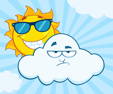 grumpy: Smiling Summer Sun With Sunglasses And Grumpy Cloud Mascot Cartoon Characters. Illustration With Sunburst Background