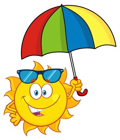 Cute Sun Cartoon Mascot Character Holding A Umbrella
