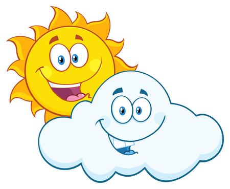 summer cartoon: Happy Summer Sun And Smiling Cloud Mascot Cartoon Characters