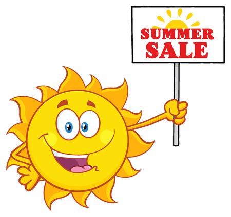 summer sign: Summer Sun Cartoon Mascot Character Holding A Sign With Text Summer Sale