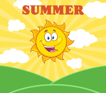 star field: Sunshine Happy Sun Mascot Character Over Landscape. Illustration With Sunburst Background And Text Summer