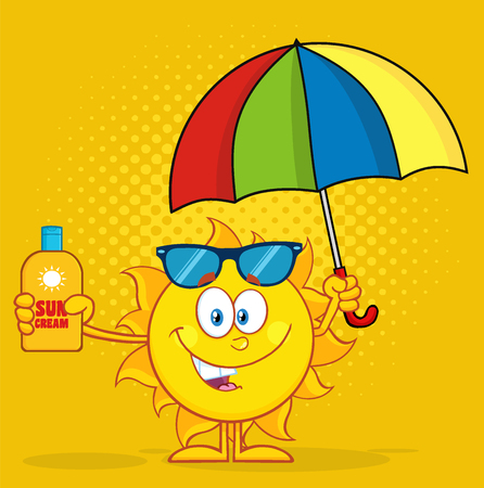 sun block: Cute Sun Character Holding A Umbrella And Bottle Of Sun Block Cream. Illustration With Yellow Halftone Background