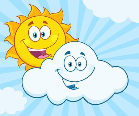 meteo: Happy Summer Sun E Sorridente Nube mascotte dei cartoni animati Illustrazione Con Sunburst Background