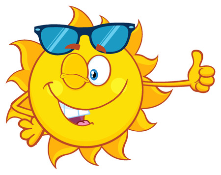 Winking Sun Cartoon Mascot Character With Sunglasses Giving The Thumbs Up.