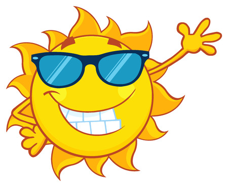 Smiling Sun Cartoon Mascot Character With Sunglasses Waving For Greeting Banco de Imagens