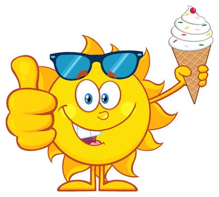 Leuke Zon Cartoon Mascotte Karakter Met Zonnebril Holding Een Ice Cream Dat Duim Omhoog